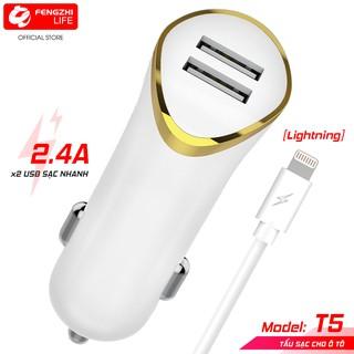 Tẩu sạc 2.4A 2 cổng USB dùng trong xe ô tô MaiMi T5