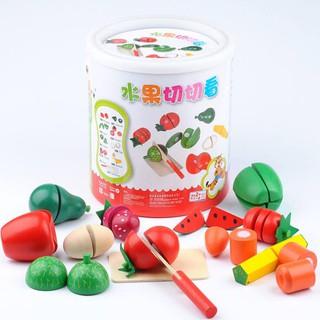 Bộ đồ chơi cắt ghép hoa quả bằng gỗ cho bé