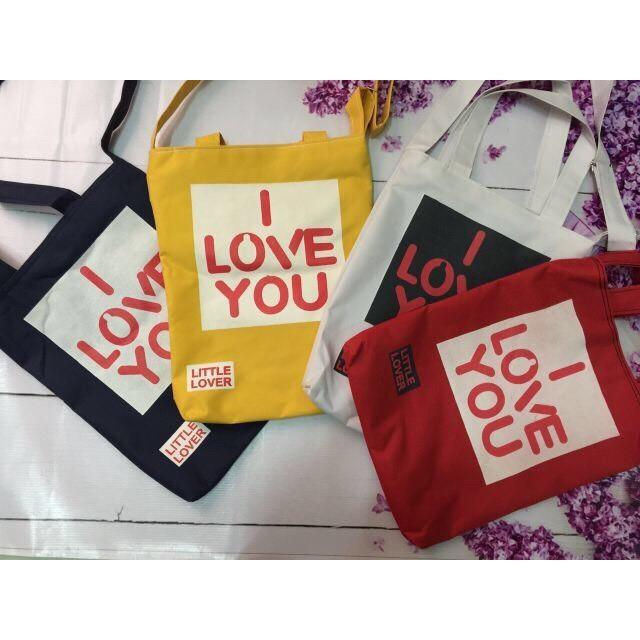 Túi Thời Trang Tote Màu Đỏ - I LOVE YOU