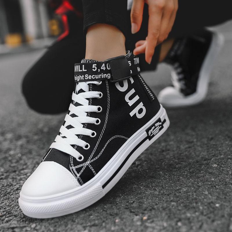 Giày Thể Thao Canvas Cổ Cao Màu Đen Phong Cách Hip Hop Hàn Quốc Thời Trang Mùa Thu Cho Nữ