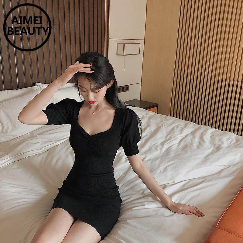 AIMEIBEAUTY Square neck puff sleeve slim knitted bodycon dress