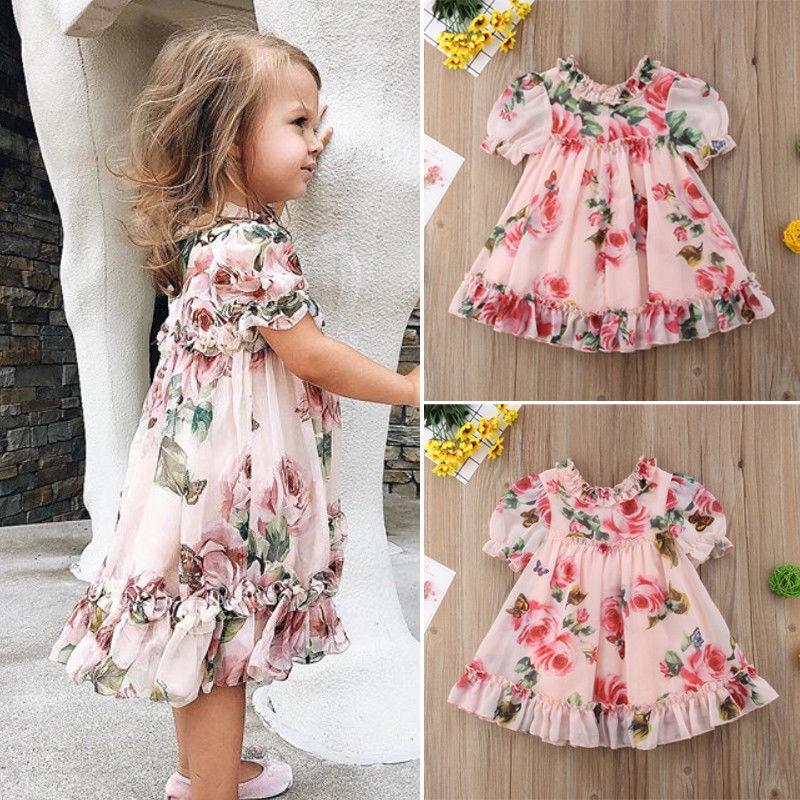 Đầm tay ngắn in hoa kiểu dáng công chúa dễ thương cho bé gái