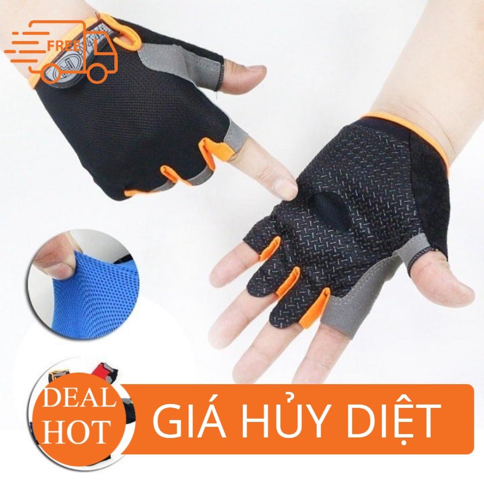 [RẺ VÔ ĐỊCH] Găng tay (bao tay) tập Gym, đi phượt, chống nắng cho nam và nữ ( ảnh thật phía sau )