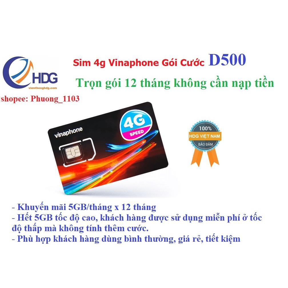 Sim 4g vinaphone gói D500 5,05gb/tháng/12 tháng trọn gói không cần nạp tiền