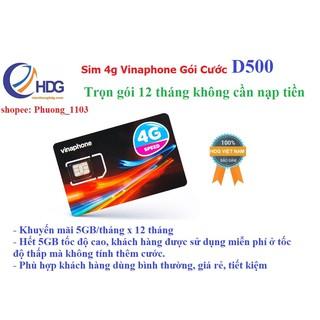 [Mã ELFLASH5 giảm 20K đơn 50K] Sim 4g vinaphone gói D500 5,05gb/tháng/12 tháng trọn gói không cần nạp tiền