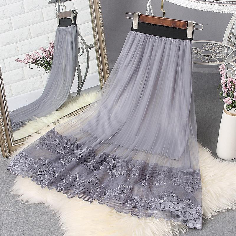 Chân váy lưới ren form dài thời trang cho nữ