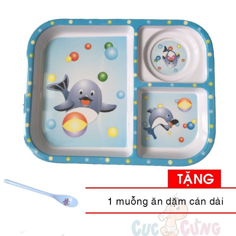 Khay cho bé tập ăn 3 ngăn hình chữ nhật nhựa - 3F - màu xanh dương Tặng 1 cái muỗng cán dài