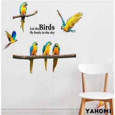 Sticker dán tường họa tiết hình con vẹt bay và cánh chim bay độc đáo dùng để trang trí nội thất
