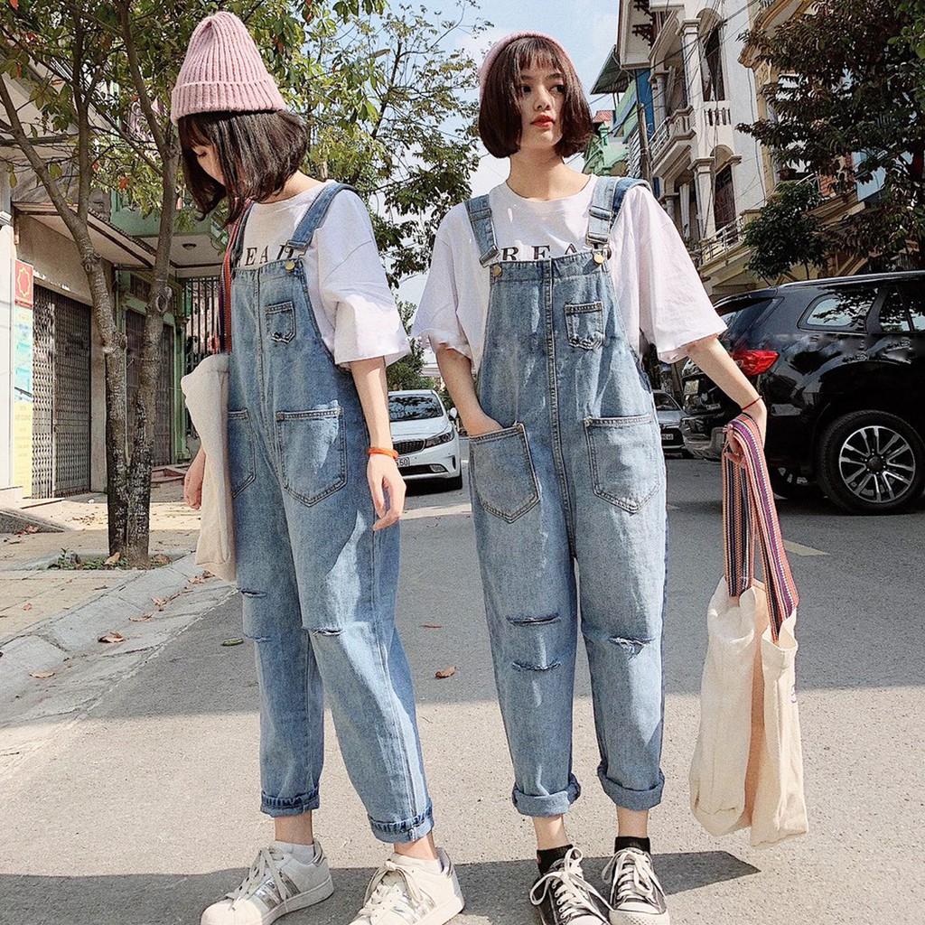 Yếm jean dài rách Chollima YJ02