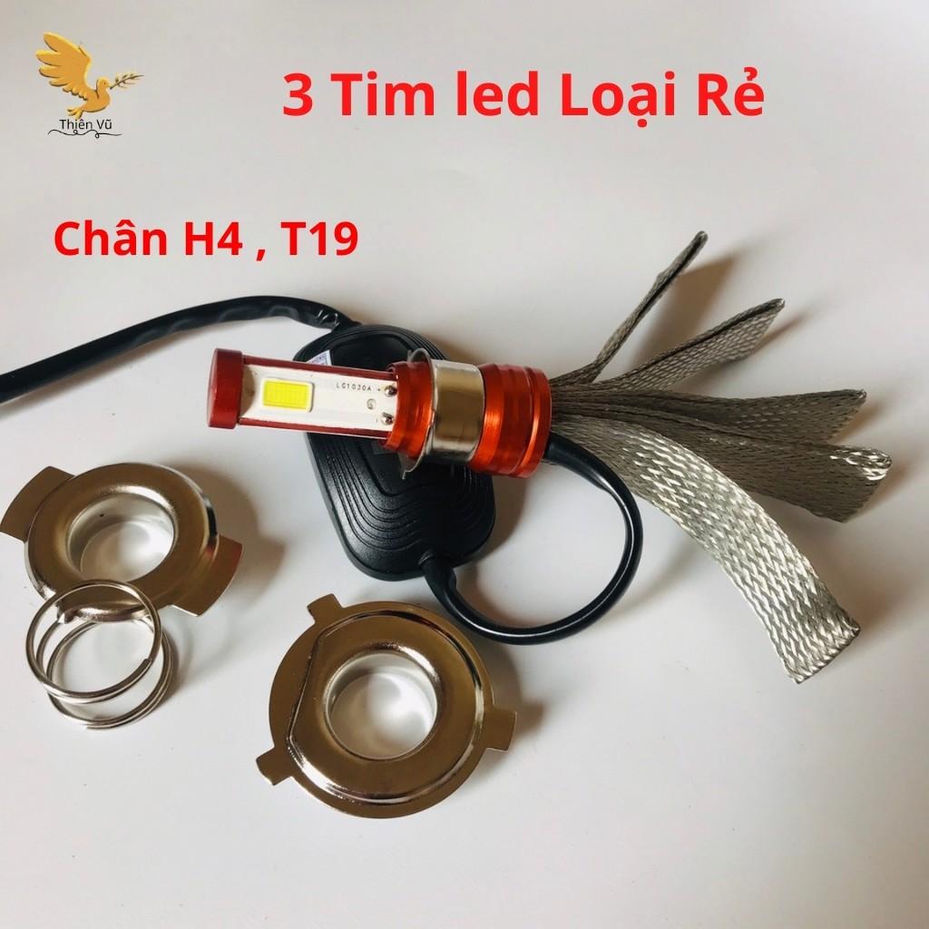 Đèn Pha Led 3 Tim Siêu Sáng Chính Hãng BMA Chân H4 ,T19,M5 Lắp Đa Năng Các Loại Xe