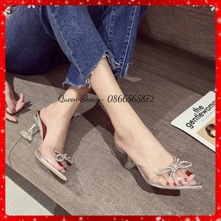 Sandal cao gót - dép / guốc cao gót nữ gót nhọn 9 phân quai mika trong suốt đính nơ đá kim cương CG01