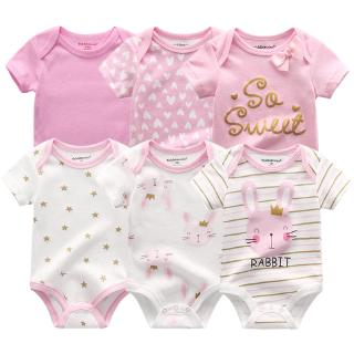 6 pcs baby clothes romper Jumper set summer short sleeved jumpsuit newborn girls boys kids cotton pajamas sleepwear onesies suit 0-12M
