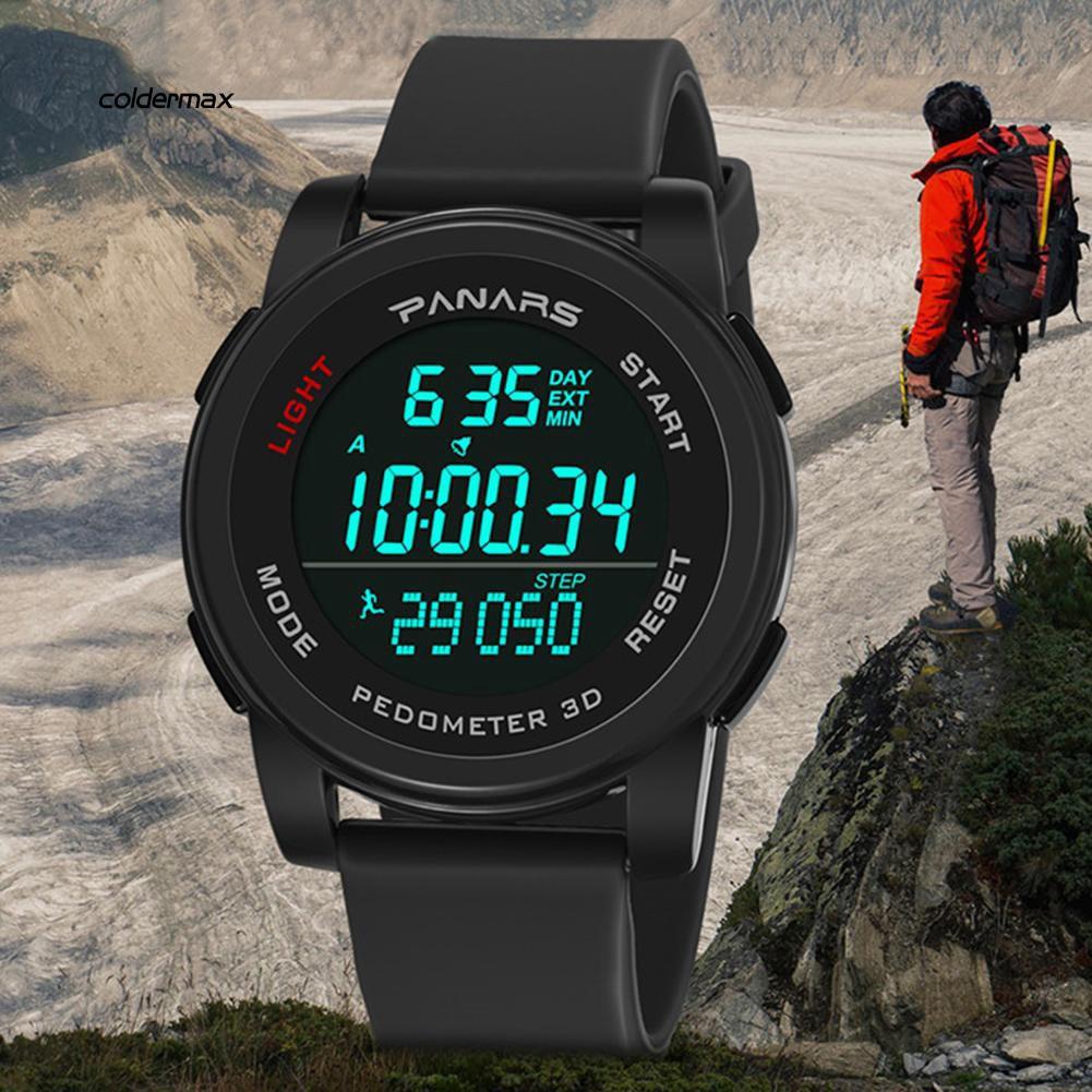 Colder_Outdoor Waterproof Sport Step Count Backlight Round Dial Digital Men Wrist Watch