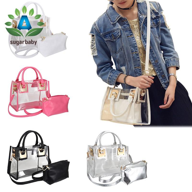 Fashion Women Clear Transparent Shoulder Bag Jelly Candy Summer Beach Handbag Messenger Bags