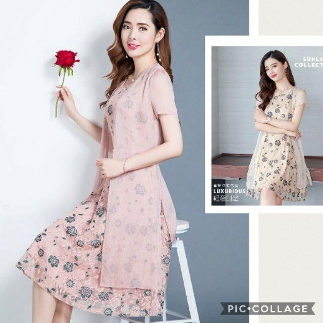 Hàng nhập - Đầm dáng suông ren hoa, kèm áo