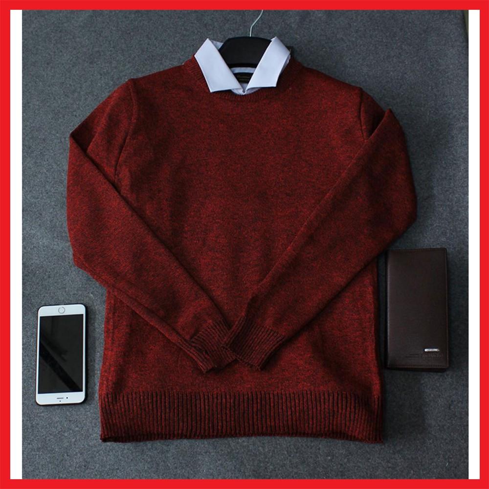 Áo len tiêu nam màu đỏ đô
