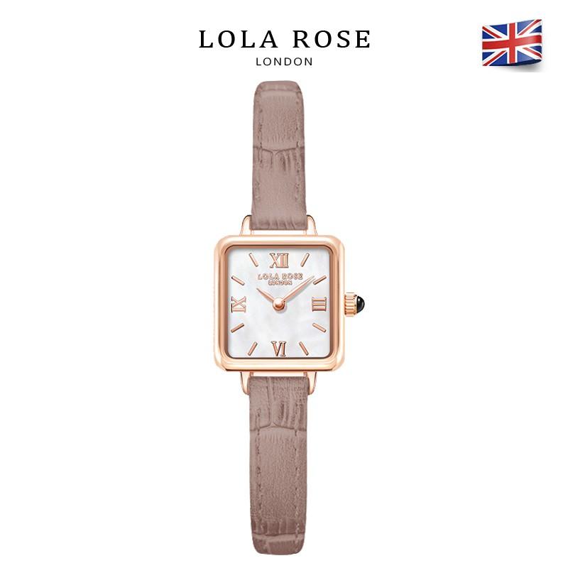 Đồng hồ nữ dây da Lolarose mặt vuông nhỏ cổ điển dây đeo nâu thanh lịch nho nhã cho