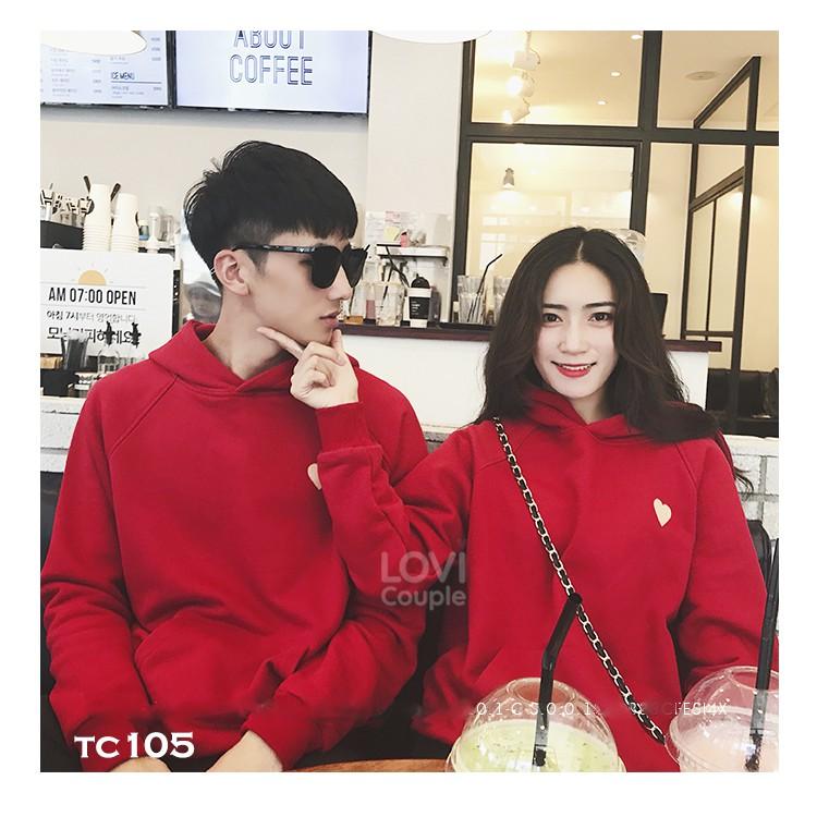 ÁO ĐÔI - Áo Hoodie Oversize cặp đôi đỏ thời trang trẻ TC105 - LoviCouple - Có FeedBack