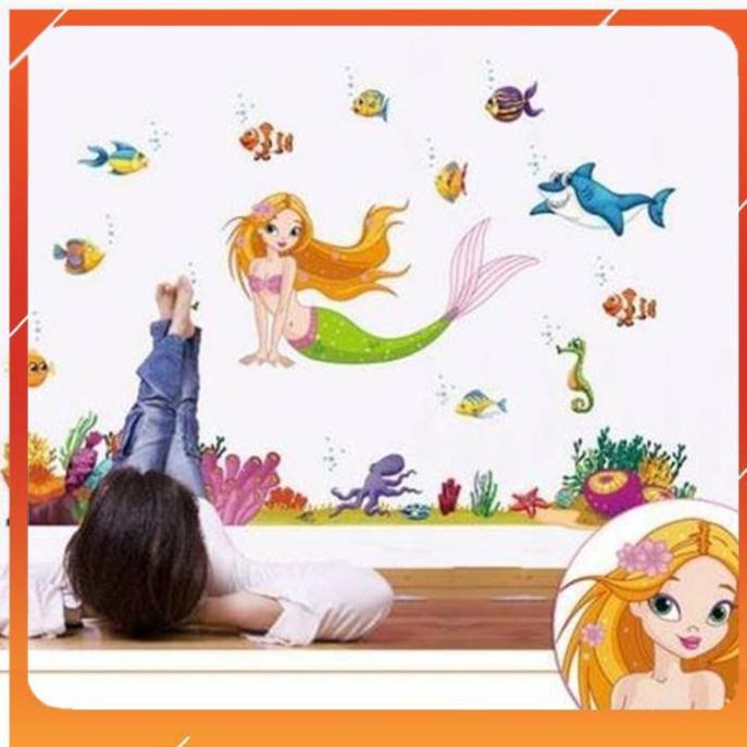 Decal dán tường nàng tiên cá ( 1m3*1m) mẹ và bé - 21954606 , 6213388056 , 322_6213388056 , 36000 , Decal-dan-tuong-nang-tien-ca-1m31m-me-va-be-322_6213388056 , shopee.vn , Decal dán tường nàng tiên cá ( 1m3*1m) mẹ và bé