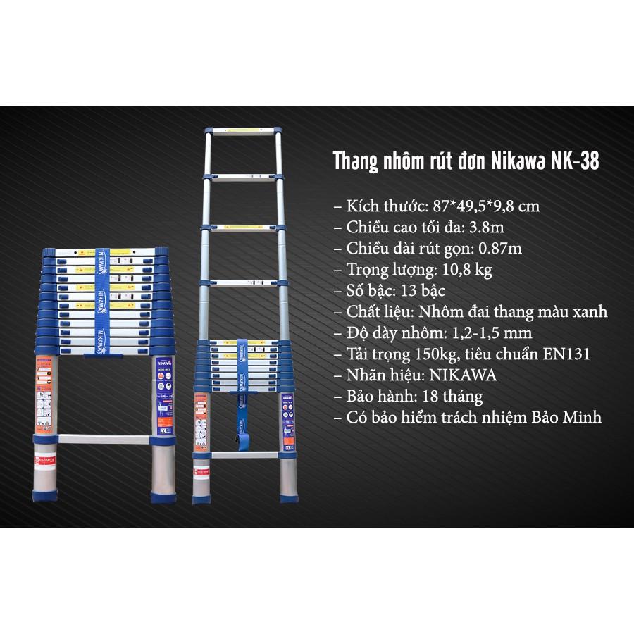 Thang nhôm rút đơn Nikawa NK-38 New