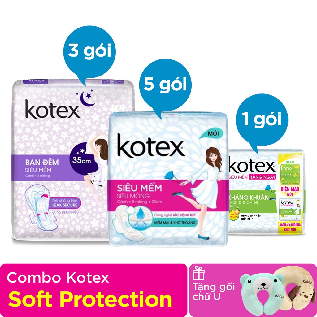 Combo 9 gói Kotex Super Soft Protection - Tặng Gối cổ chữ U