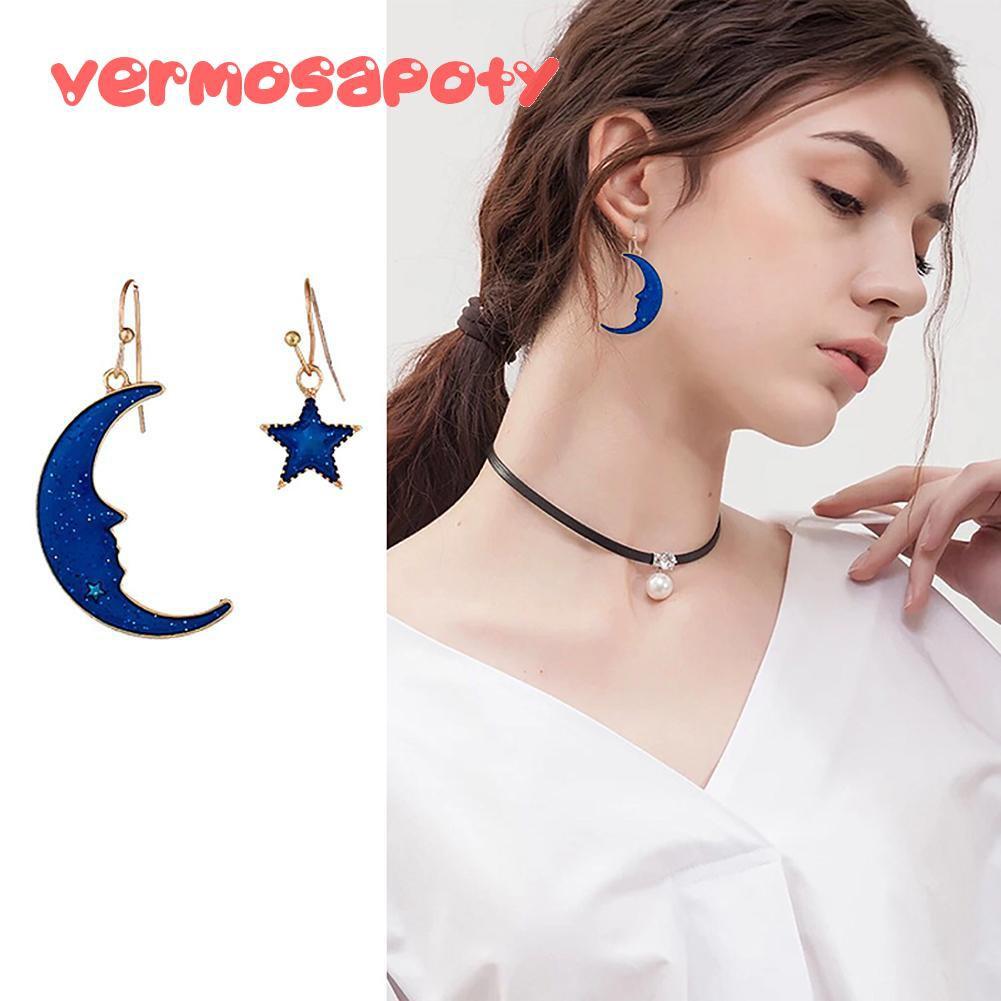 Fashion Women Irregular Moon Star Dangle Hook Geometric Drop Earrings Gift