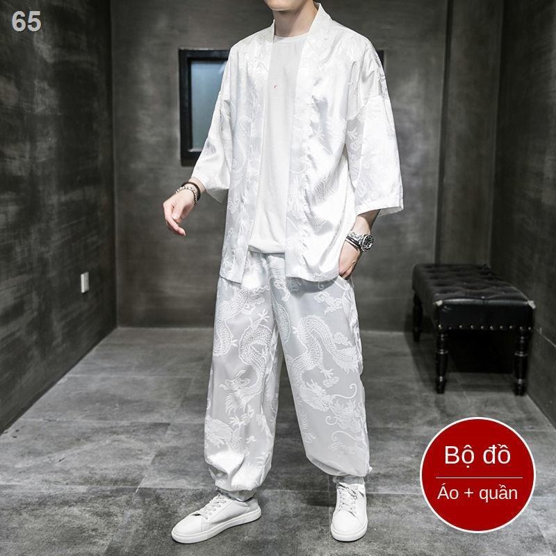 Tang suit nam mùa hè lụa mỏng băng, quần áo phong cách Trung Quốc, Hanfu cải tiến thương hiệu Tide, thiền, choàng
