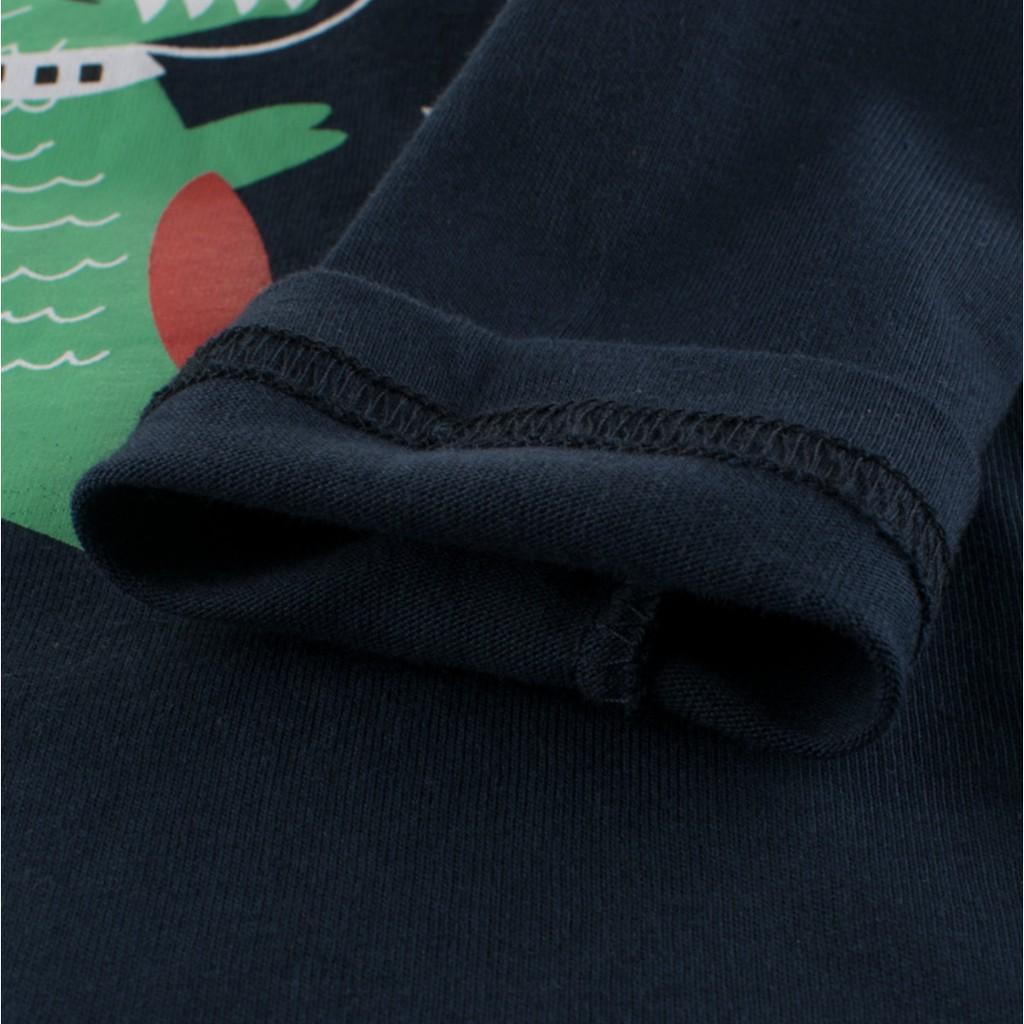 Áo thun bé trai dài tay 27KIDS cổ tròn in hình gấu space bear chất cotton hàng xuất Âu Mỹ
