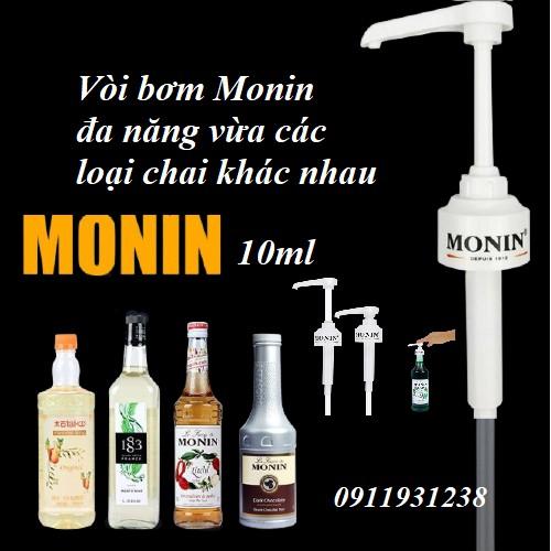 Vòi bơm MONIN 10ml đa năng (dành cho chai thủy tinh MONIN,Torani, Tessi, Giffard, Maulin, Golden Farm,  bodou, hàng huy)