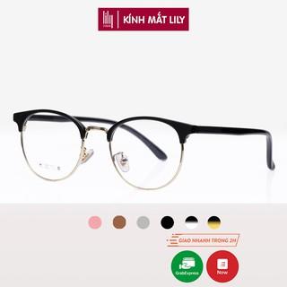 Gọng kính nam nữ Lilyeyewear kim loại càng nhựa, mắt tròn, nhiều màu - Y6214