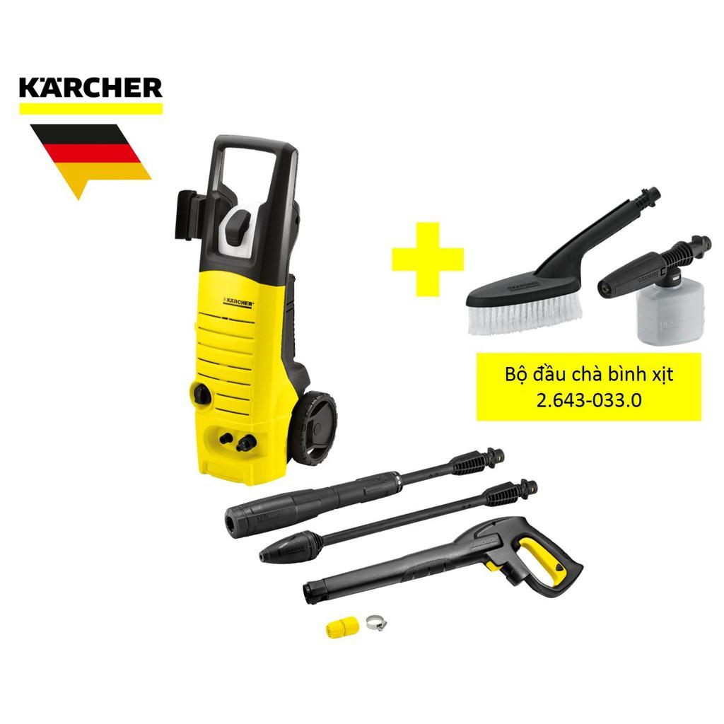Combo máy rửa xe karcher K3.450 và bộ đầu chà bìn