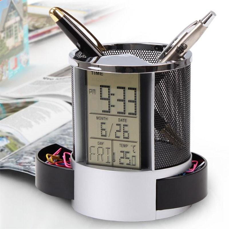 Hộp khay đựng bút có đồng hồ lịch kỹ thuật số