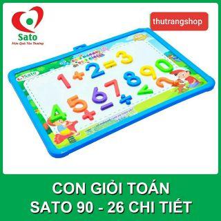 Bộ chữ nam châm và bảng học CON GIỎI TOÁN đồ chơi an toàn SATO