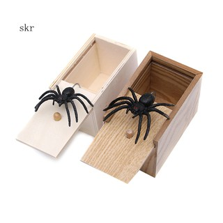 Halloween Scary Fake Spider Wooden Box Joke Gag Trick Play Toy Party Supplies
