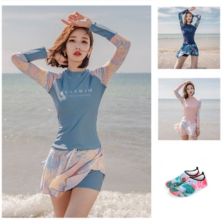 2021Years New Motion Swimsuit Women's Clothing Conservative Two-Piece Cover Belly Was Thin Long-Sleeve Sun-Protection Large-Size Bubble Hot Spring Swimming Suit