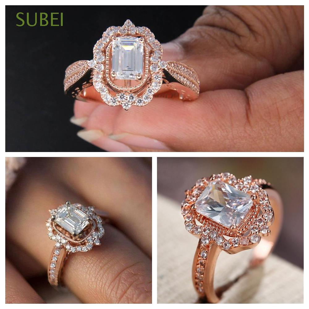 SUBEI Party Vintage Wedding Jewelry Square Sparkly White Sapphire Ring