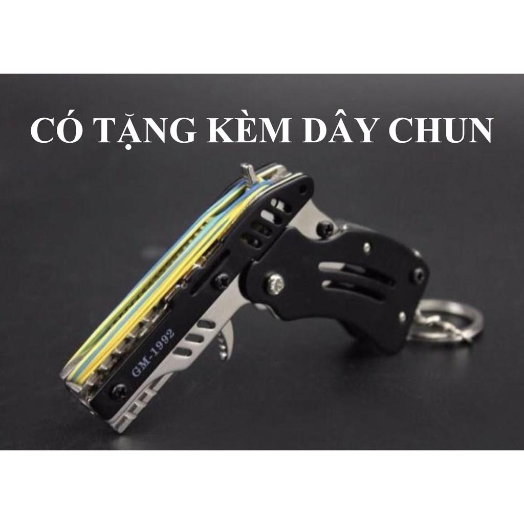 Súng bắn dây thun móc chìa khoá dạng đồ chơi gấp gọn, tặng kèm dây chun