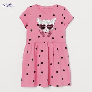 Váy Little Maven thun cotton hồng chấm bi mèo