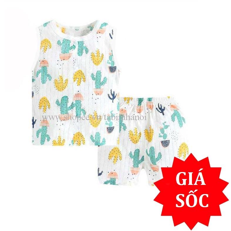Bộ quần áo trẻ em ba lỗ cotton giấy QATE245 cho bé sơ sinh đến 16kg