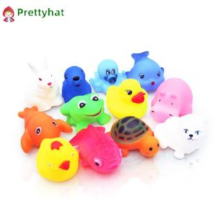 12Pcs Cute Soft Rubber Float Squeeze Sound Dabbling Bath Play Toys 『Prettyhat 』