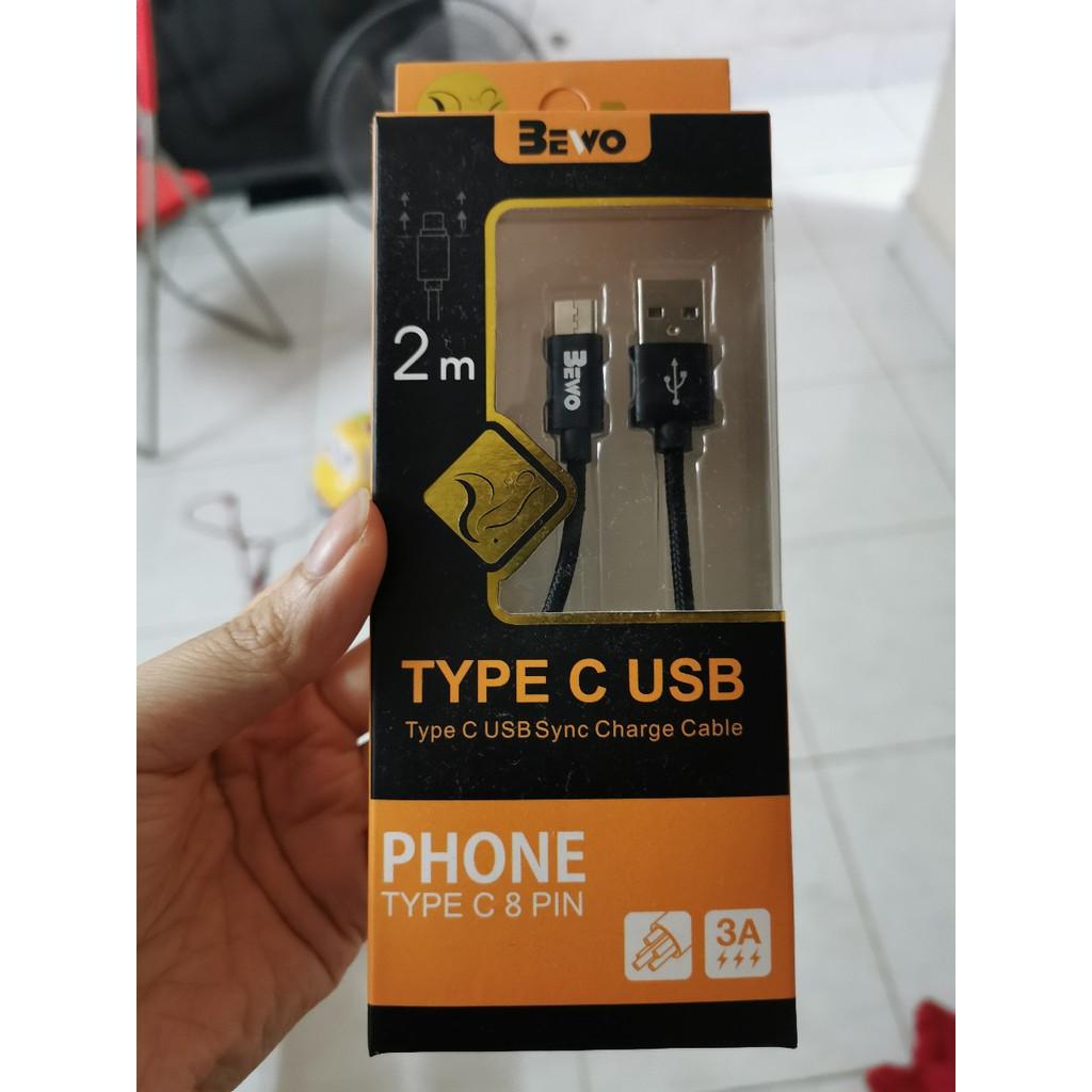 Cáp sạc nhanh dây dù 2M chính hãng Bewo, Iphone/Ipad/Androi/TypeC , Siêu bền