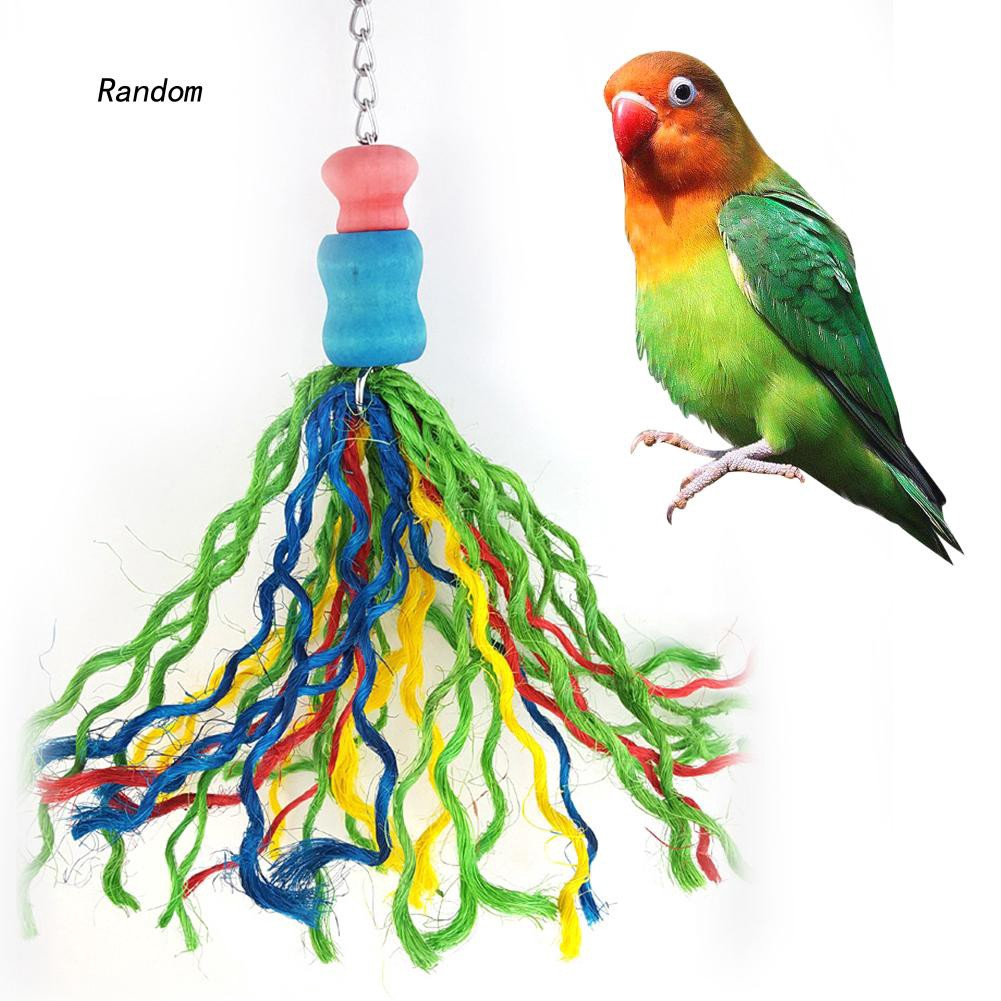 [RA]Colorful Thread Cage Hanging Decor Parrot Birds Chew Bite Toy Pet Accessories