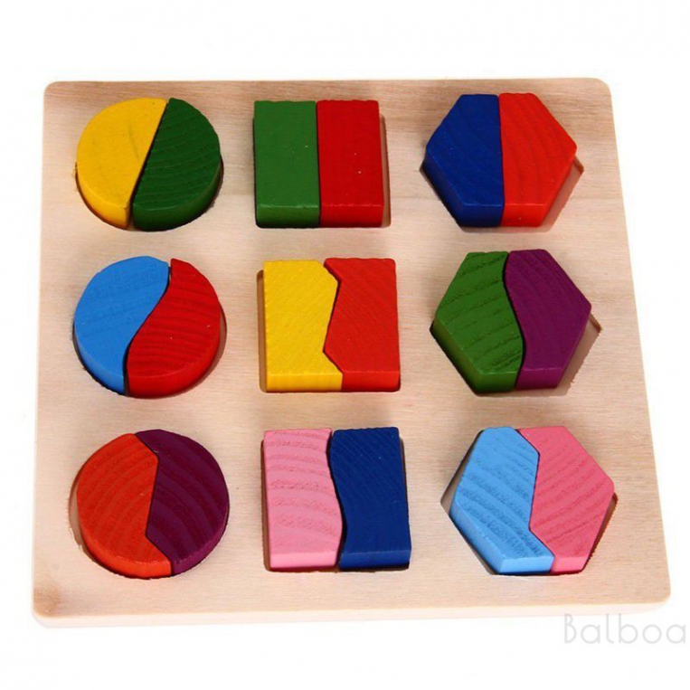 Balboa Kids Wooden Baby Learning Geometry Educational Toys Puzzle Montessori HCXM