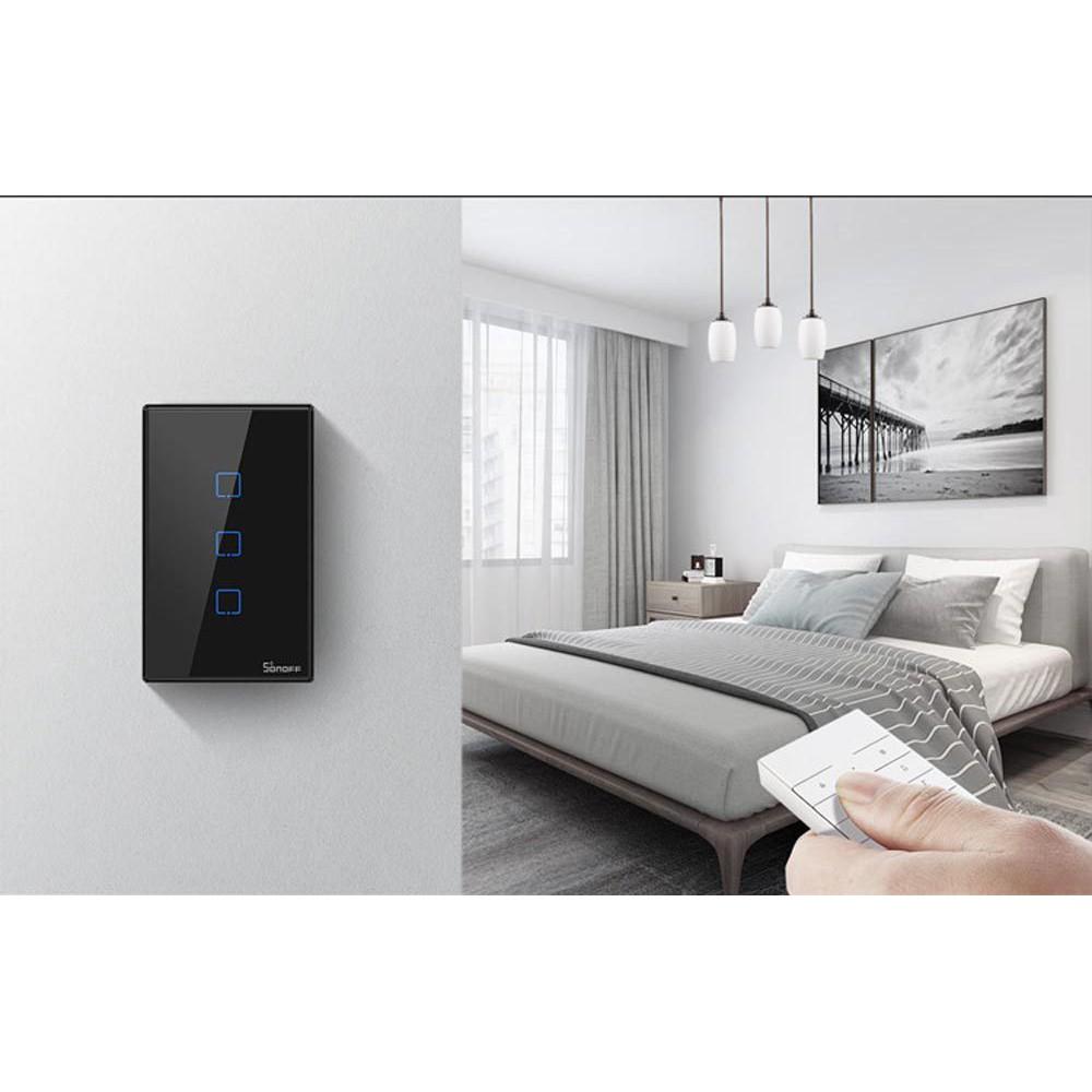 [Bản mới]Công tắc wifi Sonoff TX màu đen - mẫu T3 chuẩn Mỹ âm tường(1 nút,  2 nút, 3 nút) - có thể dùng remote 433mhz