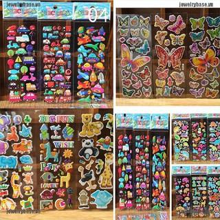 [Jewelry] 10pcs/Lot Bubble Stickers 3D Cartoon KIds ClassicToys Sticker School Reward gift [Basevn]