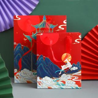 Túi Giấy Đựng Đồ Sức Chứa Lớn In Hình Chim Hạc Phong Cách Trung Hoa