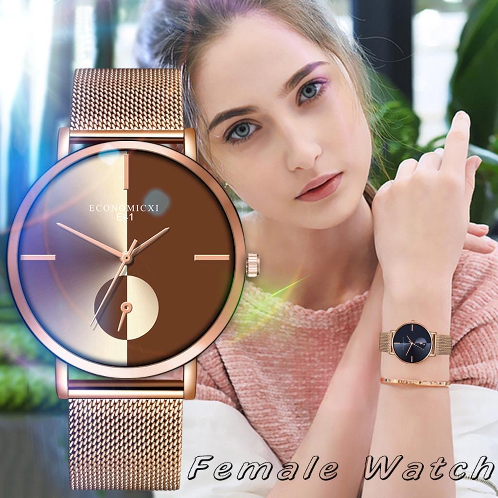 นาฬิกาข้อมือผู้หญิงผลึกธุรกิจ Rose Gold