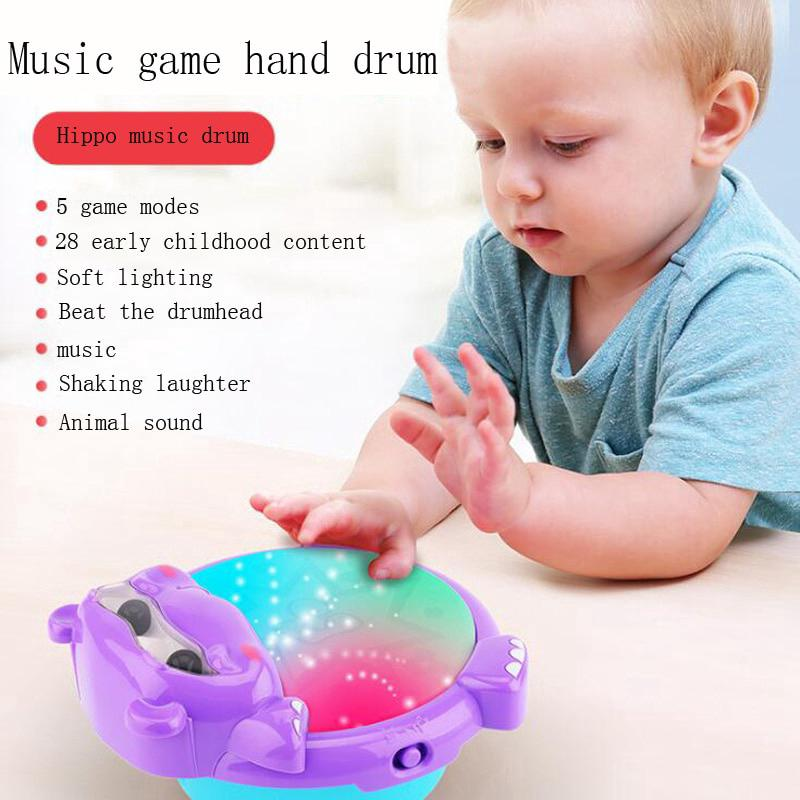 Baby Pat Drums Electric Hippo Hand Drums Education Music Children's Toys Gifts