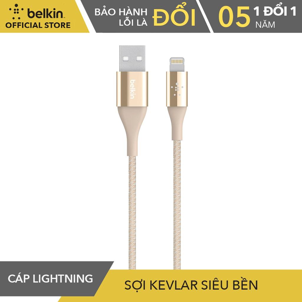 Cáp Sạc Và Truyền Dữ Liệu Lightining Belkin F8J207bt04 Sợi Kavlar Siêu Bền 1,2 Mét dành cho Iphone,