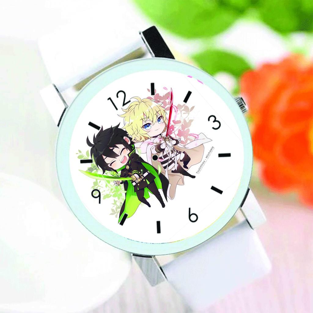 Đồng hồ đeo tay nam nữ in hình Owari no seraph THIÊN THẦN DIỆT THẾ anime chibi thời trang dễ thương